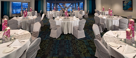 An elegantly decorated ballroom at Inn At The Quay in New Westminster, BC